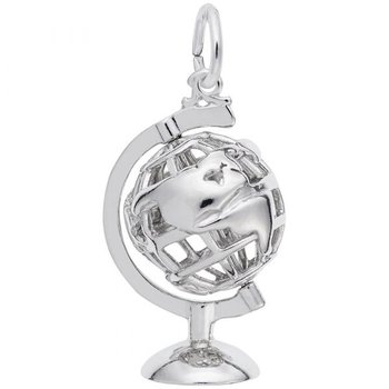 Sterling Silver Globe 3D w/ Stand Charm