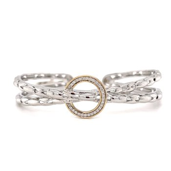 Sterling Silver Diamond Bangle Bracelet with 14KY Accents & 0.13 ctw