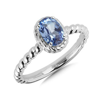 Sterling Silver Created Sapphire Ring Size 7