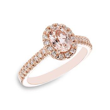 10KR Morganite & Diamond Ring w/ 7 x 5 Morg, & 0.30 ctw Dia, Size 7