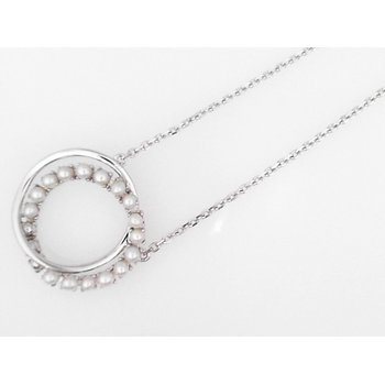 """Double Circle Seed Pearl Necklace, 16"""" to 18"""" Chain"""