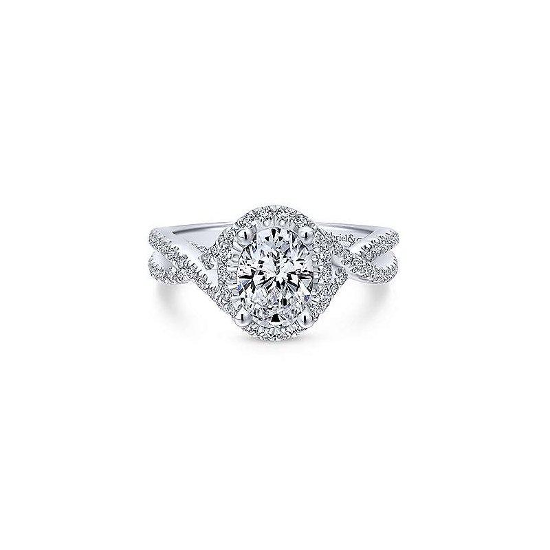 Gabriel & Co. 14KW Diamond Engagement Ring Semi-Mount w/ 0.68 ctw Size 6.5