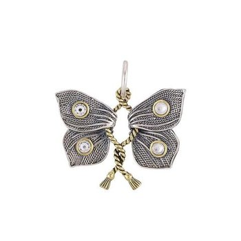 Sterling Silver & Brass Victory Charm Butterfly w/ Swarovski Crystals