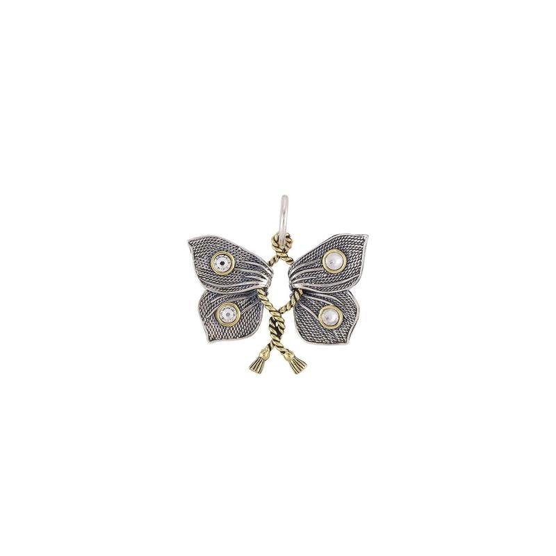 Waxing Poetic Sterling Silver & Brass Victory Charm Butterfly w/ Swarovski Crystals