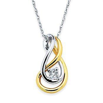 "14K Two-Toned Diamond Pendant w/ 0.10 ctw, 18"" Chain"
