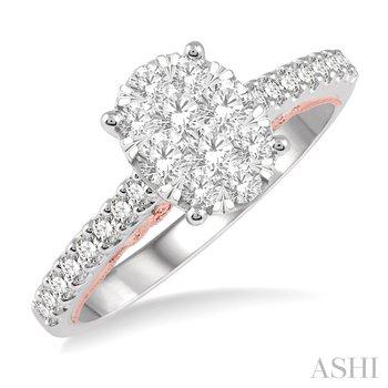 14KW Oval Shape Diamond Cluster Lovebright Ring w/ 0.75 Size 6.75