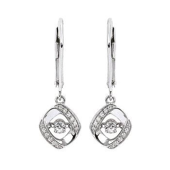Sterling Silver Shimmering Diamond Dangle Earrings w/ 0.21 ctw