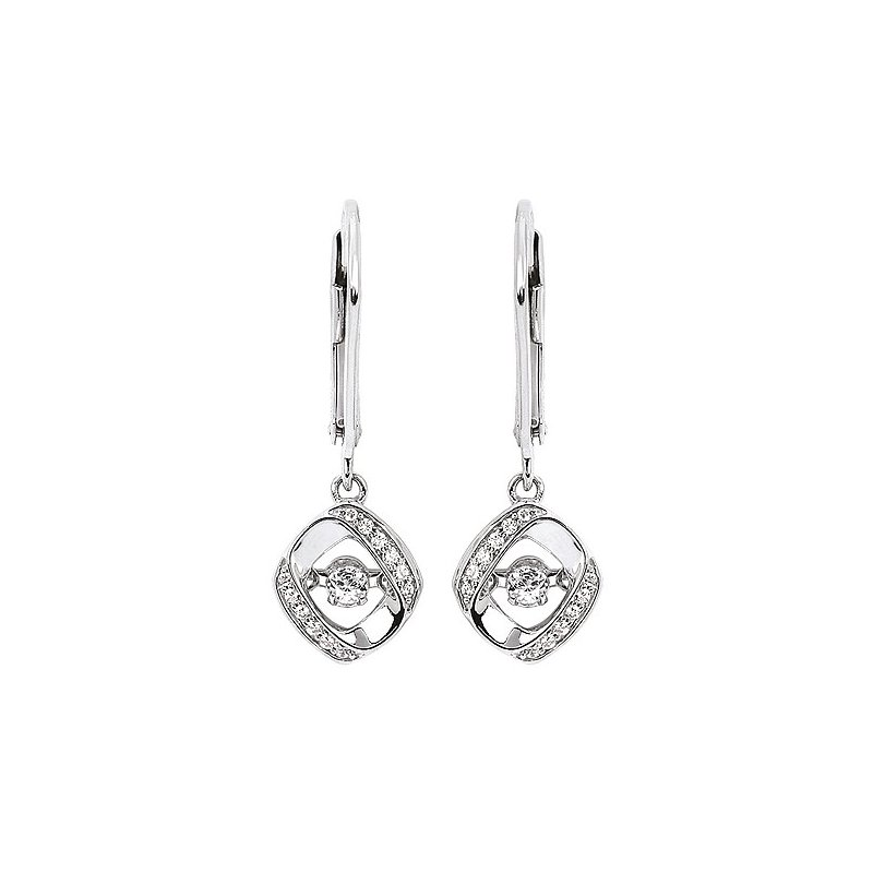 Green Brothers Collection Sterling Silver Shimmering Diamond Dangle Earrings w/ 0.21 ctw