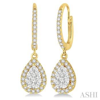 """14KY """"Lovebright"""" Diamond Pear Shaped Dangle Earrings w/ 0.60 ctw"""