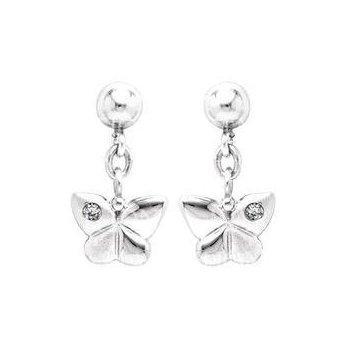 Sterling Silver Domed Butterfly Dangle Earrings w/ Diamond