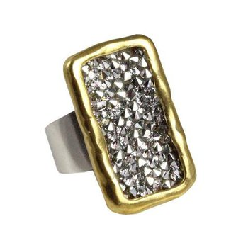 Sterling Silver & Brass Kristal Plate Ring, Size 7