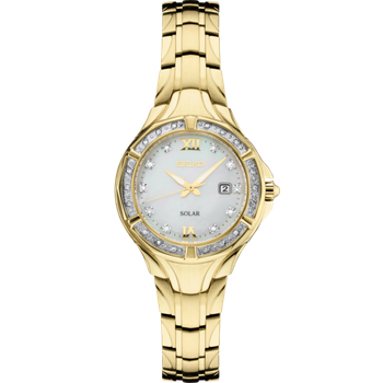 Stainless Steel Gold Tone Solar Mother of Pearl Watch w/ Diamonds and Date Marker