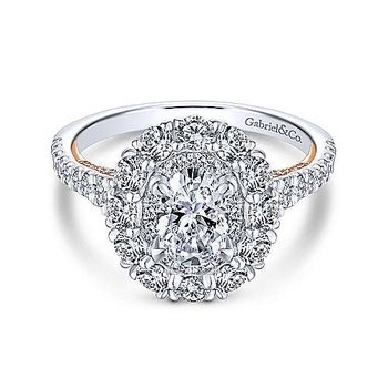 14KW & RG Diamond Semi-Mount Engagement Ring w/ 1.4 CTW Size 6.5