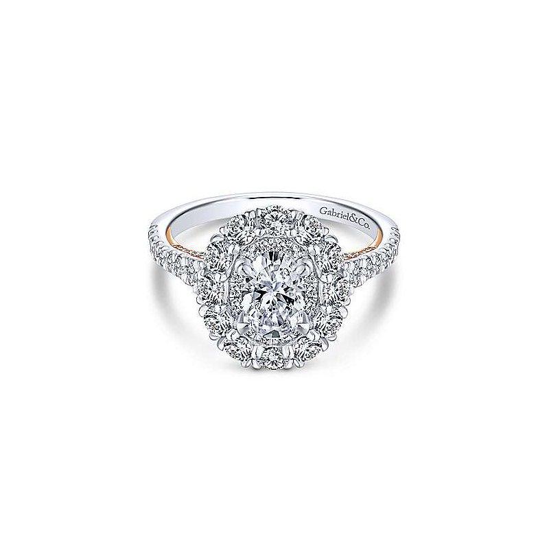 Gabriel & Co. 14KW & RG Diamond Semi-Mount Engagement Ring w/ 1.4 CTW Size 6.5