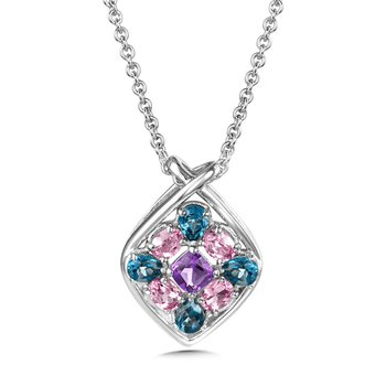 """Sterling Silver London Blue Topaz, Amethyst, & Synthetic Pink Sapphire Pendant w/18"""" Chain"""