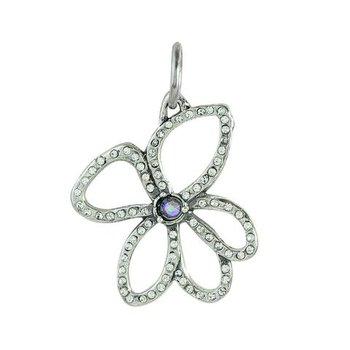 Sterling Silver & Brass Violet Open Pendant