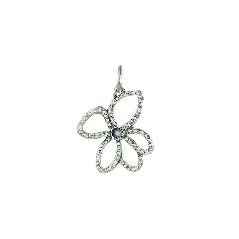 Waxing Poetic Sterling Silver & Brass Violet Open Pendant