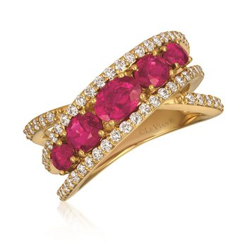 14KY Ruby & Diamond Cross-Over Fashion Ring w/ 0.63 ct Dia & 1.62 ct Rudy, Size 7