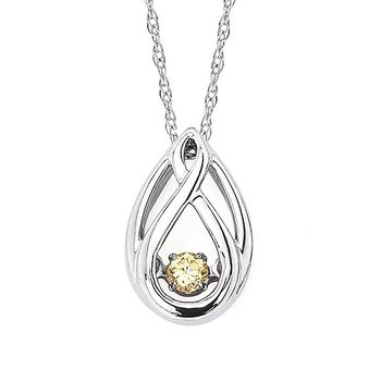 Sterling Silver Shimmering Yellow Diamond Pear Shaped Pendant & Chain w/ 0.07 ctw