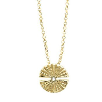 """Sterling Silver & Gold Plated Good Verbs Discovering 18"""" Necklace w/ Swarovski Crystals"""