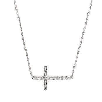 14KW Ladies Sideways Cross Necklace w/ 0.12 ctw