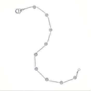 """14KW 9 Stone Diamond By The Yard Bracelet w/ 0.50 ctw, 7"""" Chain"""