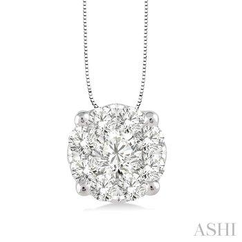 "14KW Diamond ""LoveBright"" Cluster Pendant w/ 0.25 ctw, 18"" Chain"