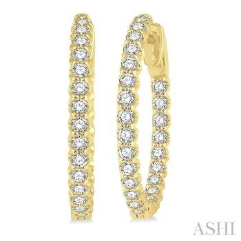 14KY Round Cut Diamond Hoop Earring w/ 1.50 ctw