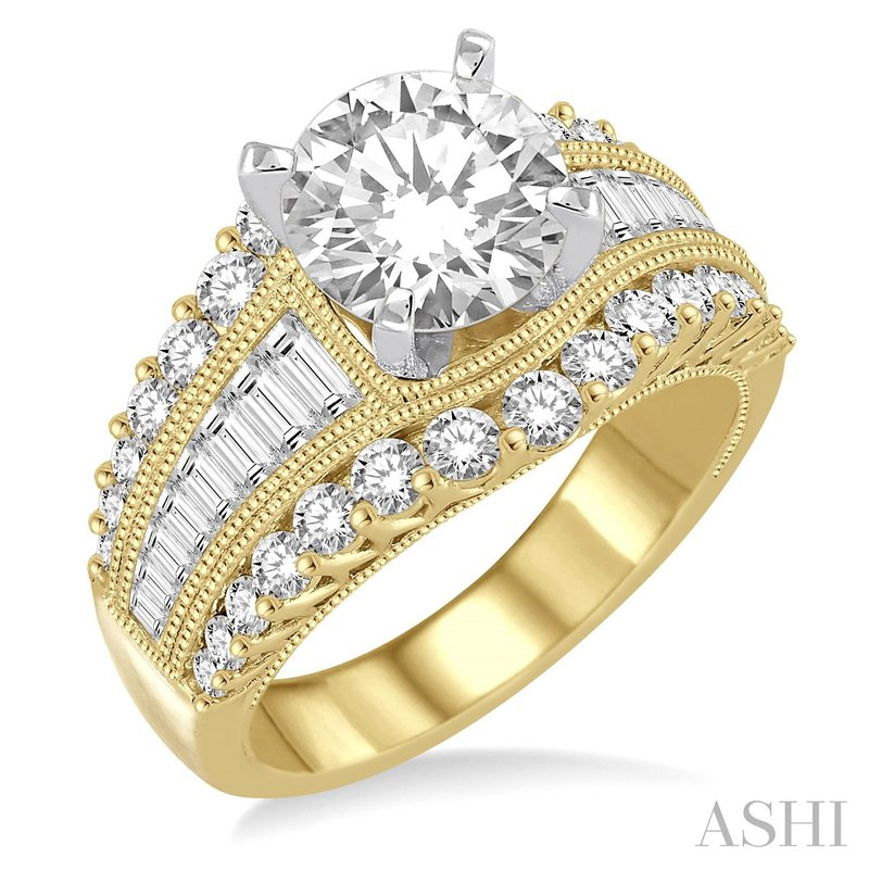 14KY Semi-Mount Engagement Ring w/ 46 Round Diamonds & Baguettes, Size 6.75