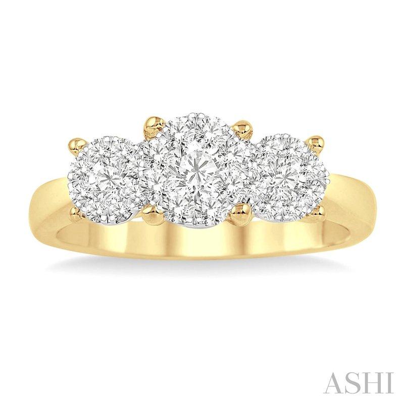 14KY Lovebright Round Cut Diamond Ring w/ 1.0 ctw Size 7