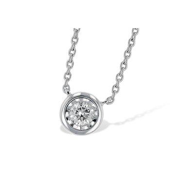 """14KY Diamond Bezel Set Necklace w/ 0.15 ctw & 18"""" Chain"""