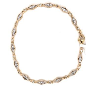 """10KY Diamond fashion Bracelet 7"""" w/ 0.30 CTW"""