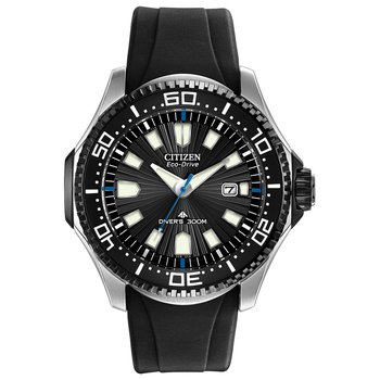 Stainless Steel Eco-Drive Promaster Diver Watch w/ Black Face and Black Rubber Straps