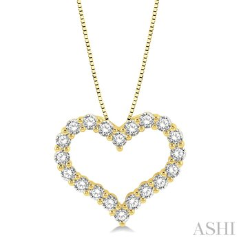 "14KY Diamond Heart Pendant w/ 1.0 ctw 18"" Chain"
