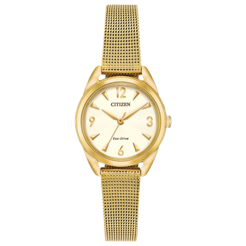Stainless Steel Yellow Tone Eco-Drive Watch w/ Champagne Face