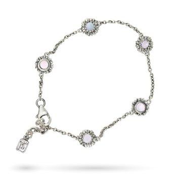 "Sterling-Silver Moon Daisy Delicate Chain Bracelet 7"" + 1"" ext."