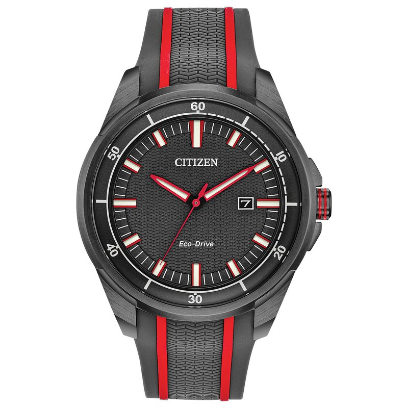 Citizen Watches in Stock Stainless Steel Citizen Eco-Drive Watch w/ Black Face, Rubber Straps, and Date Marker