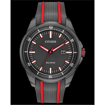 Stainless Steel Citizen Eco-Drive Watch w/ Black Face, Rubber Straps, and Date Marker
