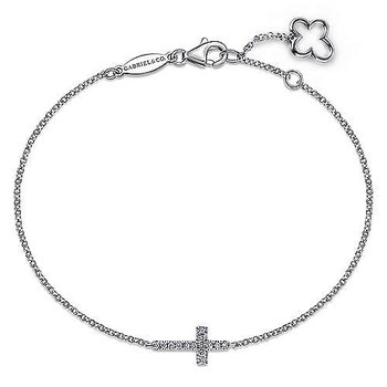 """14KW Diamond Chain Cross  Bracelet 7"""" w/ 0.06 ctw"""