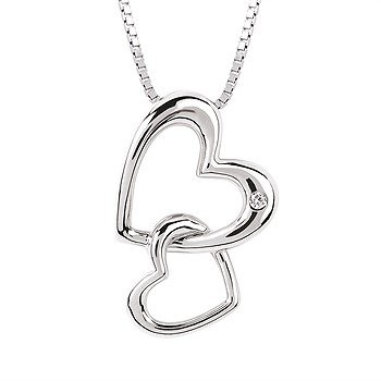 "Sterling Silver Diamond Double Heart Pendant w/ 0.01 ctw, 18"" Box Chain"