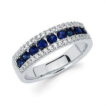 14KW Diamond and Sapphire Ring w/ 0.21 ctw Dia. & 0.76 ctw Sapph., Size 7