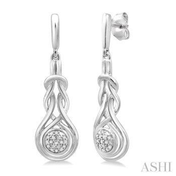 Sterling Silver Diamond Dangle Love Knot Earrings w/ 0.05 ctw