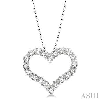 "14KW Diamond Heart Pendant w/ 0.75 ctw, 18"" Box Chain"