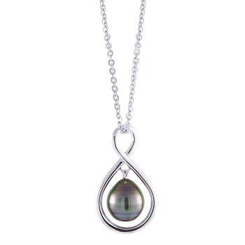 "Sterling Silver Tahitian Pearl Drop Pendant w/ 9 --10 mm Pearl, 20"" Adjustable Chain"