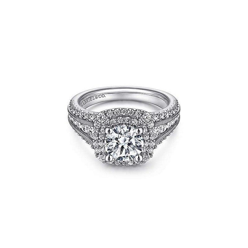 Gabriel & Co. 14KW Diamond Semi-Mount Engagement Ring w/ 1.05 CTW Size 6.5