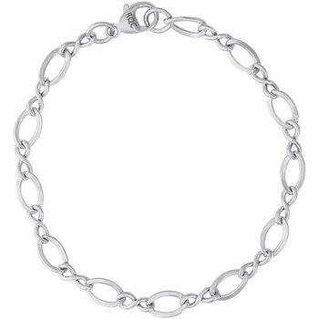 "Sterling Silver Charm Bracelet w/ Oval Fashion Links 8"""