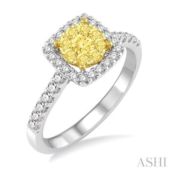 14KW Lovebright Square Engagement Ring w/ 0.75 ctw Size 6.75