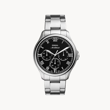 Stainless Steel Watch with Black Face