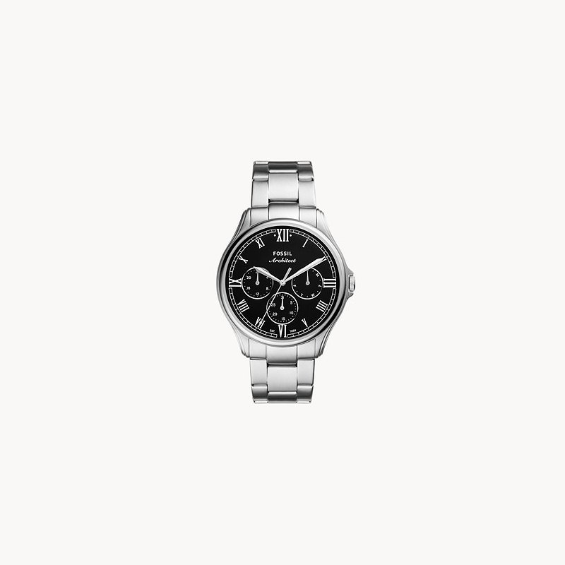 Fossil Stainless Steel Watch with Black Face