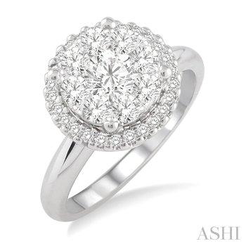 14KW Lovebright Round Cut Diamond Engagement Ring w/ 0.95ctw, Size 6.75